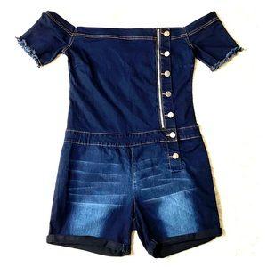 VIP Jeans Denim Off Shoulder Romper Size 2X
